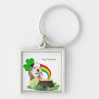 Personalize-o! - O dia de St Patrick do filhote de Chaveiro Quadrado Na Cor Prata