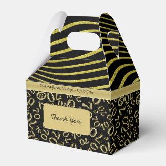Personalize:  ouro do aniversário do 70 e tema caixinha de lembrancinhas