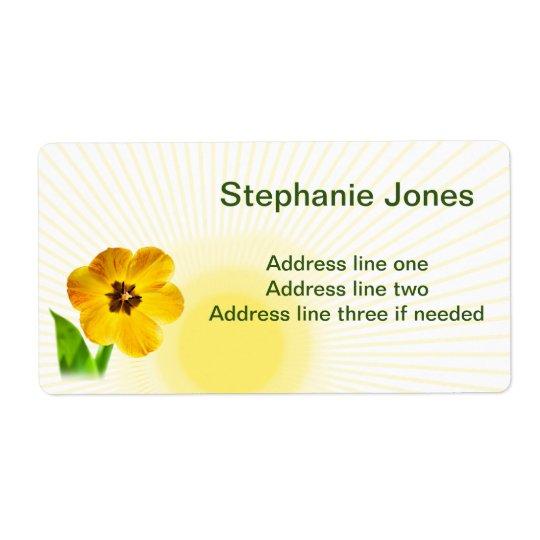 Personalize:  PIC amarelo das tulipas do nome e Etiqueta De Frete