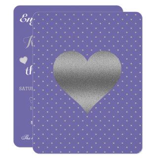Pervinca e de coração & de bolinhas da prata convite 10.79 x 13.97cm