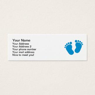 Pés do bebê azul cartão de visitas mini