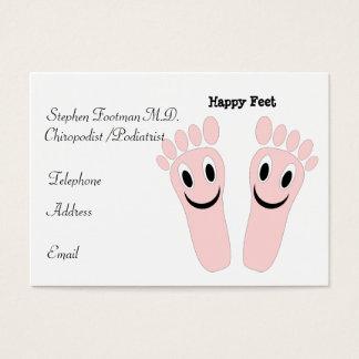 Pés felizes do cartão de visita do pedicuro