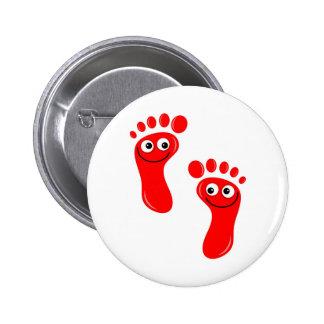 Pés vermelhos felizes boton
