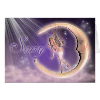 Pesaroso, cartão da desculpa com fada na lua
