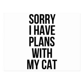 Pesaroso eu tenho planos com meu gato cartão postal