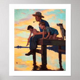 Pesca com pai. Impressão da arte do vintage