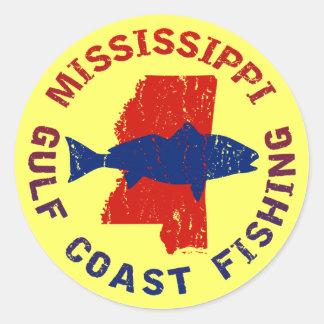 Pesca da costa do golfo de Mississippi Adesivo Em Formato Redondo