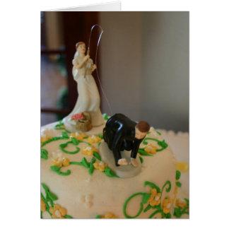 Pesca da noiva para o cartão de casamento original