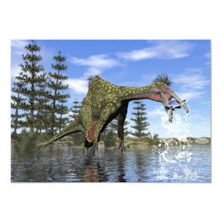 Pesca do dinossauro do Deinocheirus - 3D rendem Convite 12.7 X 17.78cm