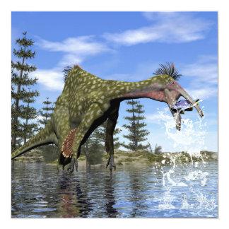 Pesca do dinossauro do Deinocheirus - 3D rendem Convite Quadrado 13.35 X 13.35cm