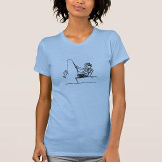 Pesca do homem dos desenhos animados camisetas