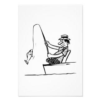 Pesca do homem dos desenhos animados convite personalizados