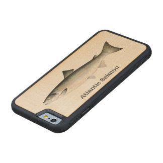 Pesca dos peixes dos salmões atlânticos capa de madeira de bordo bumper para iPhone 6