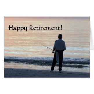 Pesca feliz do cartão da aposentadoria