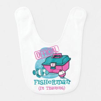 Pescador da menina no treinamento babador