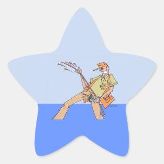 Pescador dentro das etiquetas da estrela