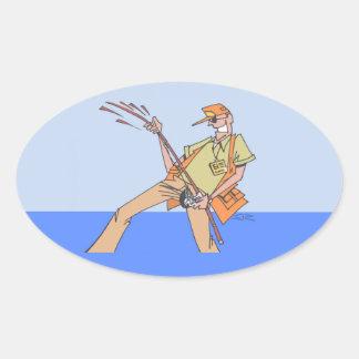 Pescador dentro das etiquetas ovais