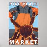Pescador do rei caranguejo - mercado de lugar de P Impressão