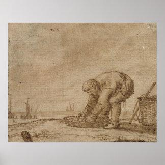 Pescador na costa de mar, 1623 impressão