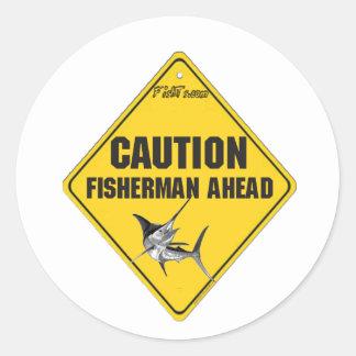 Pescadores do cuidado adiante adesivo redondo
