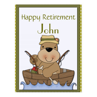 Pescando a aposentadoria do urso cartão postal