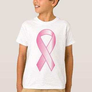 Pesquisa de cancro da mama cor-de-rosa da fita camiseta