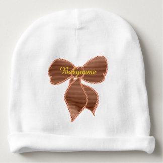 Pêssego & arco listrado Brown personalizados Gorro Para Bebê