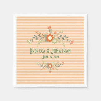 Pêssego & casamento floral da verde azeitona guardanapo de papel