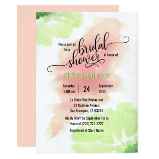 Pêssego da aguarela, chá de panela Wedding verde Convite 11.30 X 15.87cm