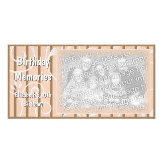 Pêssego de Brown do cartão com fotos das memórias