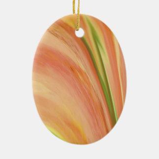 Pêssego delicado ornamento de cerâmica oval