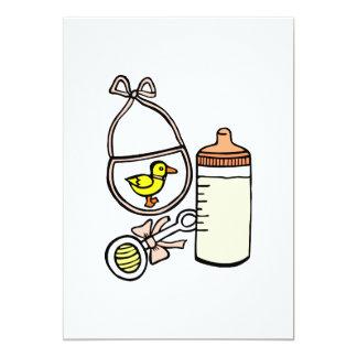 pêssego do babador do chocalho da garrafa convite 12.7 x 17.78cm