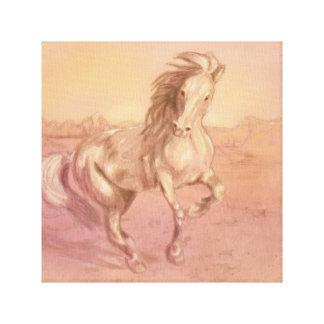 Pêssego do rosa da cópia das canvas do cavalo da impressão em tela