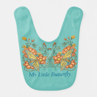Designer Baby Bib Butterfly Peach and Blue