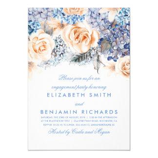 Pêssego e festa de noivado floral azul das convite 12.7 x 17.78cm