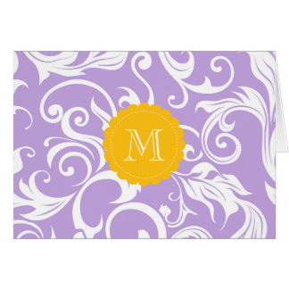 Pêssego floral da lavanda do cartão de nota do