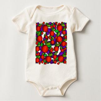 Pêssegos e ameixas body para bebê