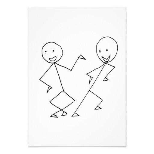 Pessoas da dança da vara convites personalizado