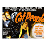 Pessoas do gato do poster do horror do vintage cartao postal