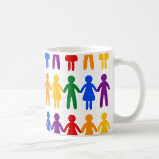 Pessoas do teste padrão do arco-íris caneca de café