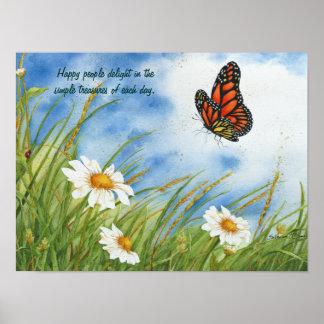 Pessoas felizes - borboleta de monarca - poster