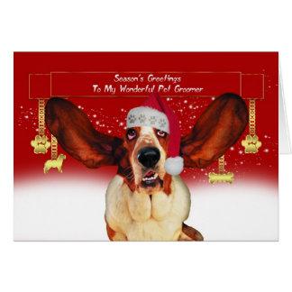 pet o cartão do feriado do Natal do groomer com