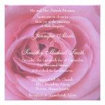 pétalas cor-de-rosa da flor 5.25x5.25 que Wedding  Convites Personalizados