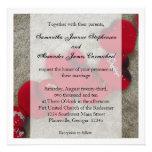 Pétalas de rosa vermelha, casamento de praia da ar convite personalizados