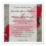 Pétalas de rosa vermelha, casamento de praia da convite personalizados