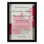 Pétalas de rosa vermelha do Lg no casamento de pra Convite Personalizados