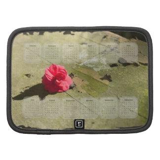 Pétalas e calendário cor-de-rosa 2014 da pintura organizadores