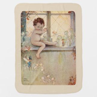 Peter Pan na janela - fadas - fundo bege Cobertor De Bebe