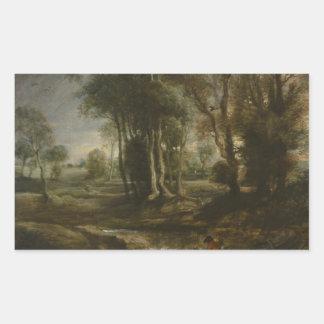 Peter Paul Rubens - paisagem da noite com madeira Adesivo Retangular