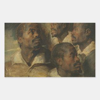 Peter Paul Rubens - quatro estudos de uma cabeça Adesivo Retangular
